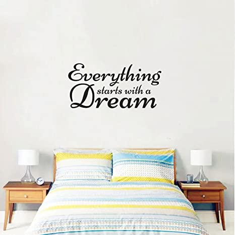 Inspirational Quote Wall Art Vinyl Decal - Everything Starts with a Dream -  14\