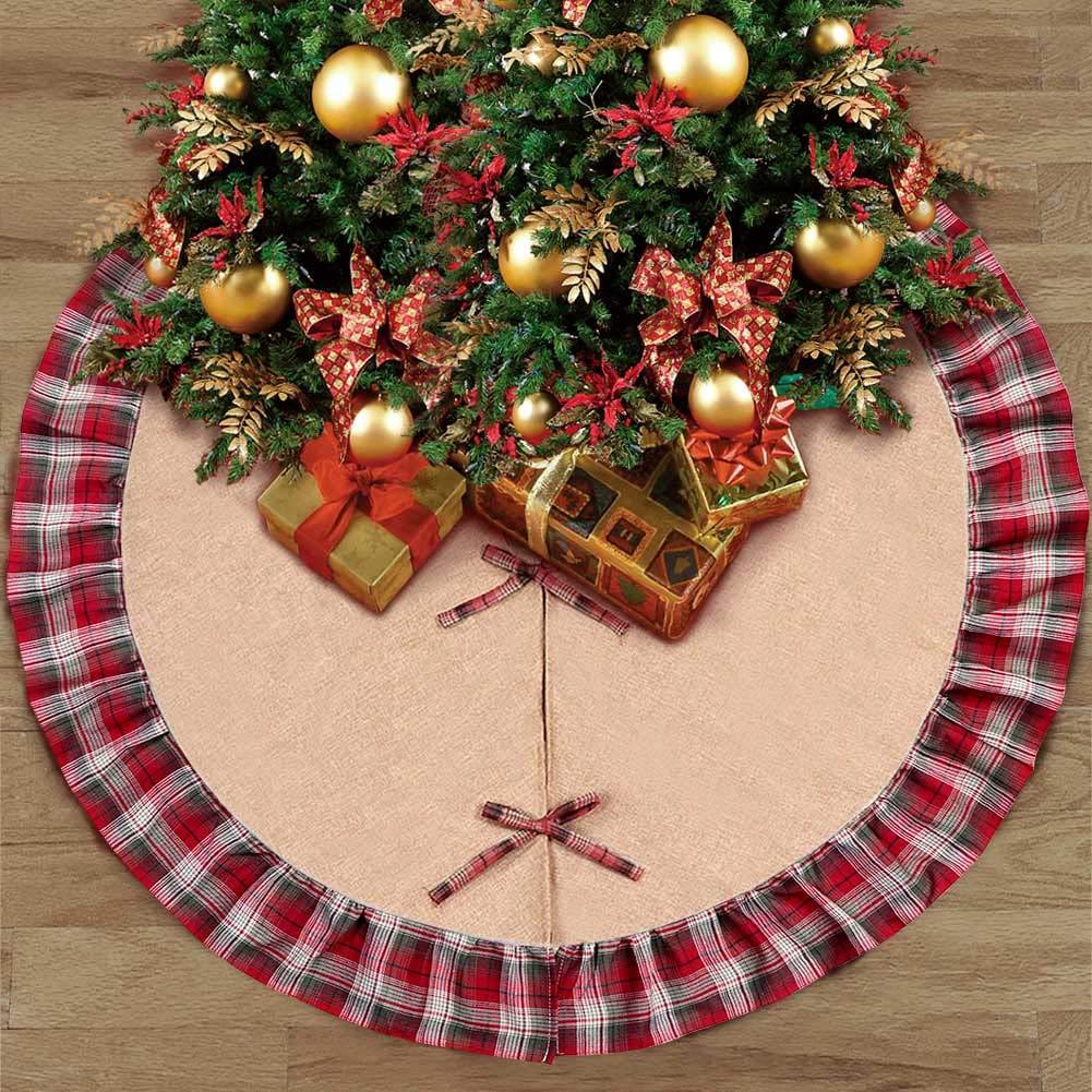 AerWo Burlap Christmas Tree Skirt 48inch Black and Red Plaid Ruffle Edge Border Tree Skirt for Xmas Party Holiday Decorations AerWo 1SDSQ-WFGZ-1