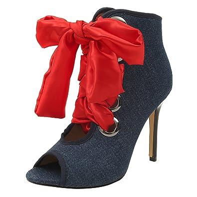 Peep Toe High Heels Sandalen mit Schnürung Damen Hoch Sommer Römersandalen Elegant Abend Schuhe A09eq
