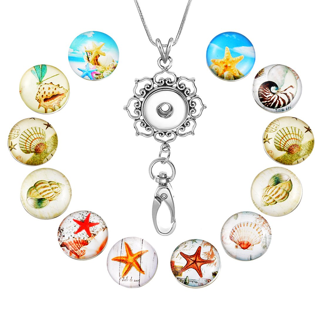 Souarts Womens Office Lanyard ID Badges Holder Necklace with 12pcs Snap Charms Jewelry Pendant Clip (Starfish)