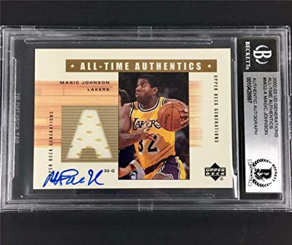 057caaf6d MAGIC JOHNSON signed 2002-03 UD Generations Lakers Jersey Autograph ~ BAS  BGS - Beckett Authentication at Amazon s Sports Collectibles Store