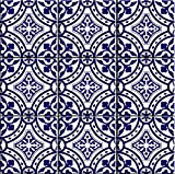 Portugal Tile stickers for Kitchen Bathroom and Stair Riser(6''x 6'' Inches Pack of 44,Blue)