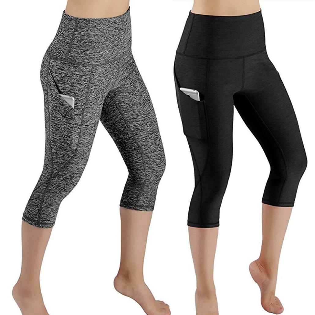 Gusspower Pantalones de yoga, Polainas Skinny Mallas Patchwork Bolsillo de color puro caderas 3/4Pantalones recortados de yoga pantalón polainas