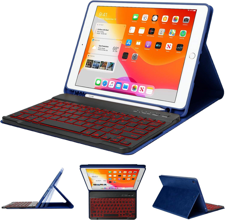 iPad Keyboard Case,iPad Accessories for 8th Gen/7th Gen 10.2,Keyboard Case for iPad 8th Generation with Pencil Holder - Wireless Bluetooth Backlit Keyboard -Slim iPad Cover-Tablet Keyboard Case