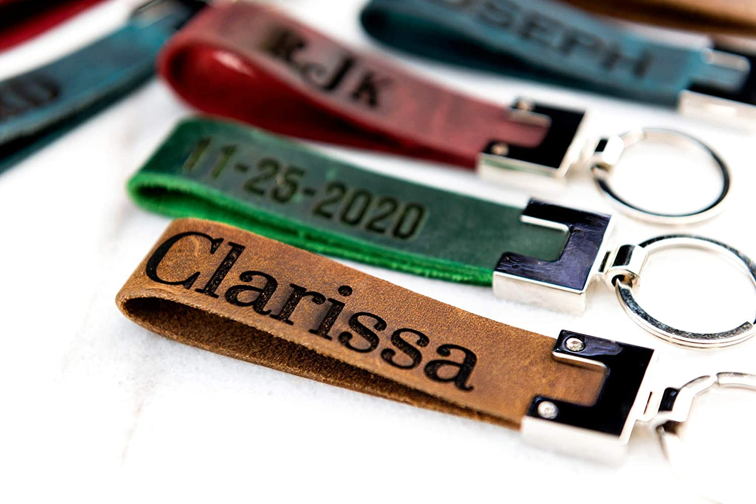 Personalized Engraved Distressed Leather Keychain The San Blas by Left Coast Original