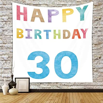 Polyester Tapestry Wall Hanging30th Birthday DecorationsHappy Lettering In Soft Toned Watercolors