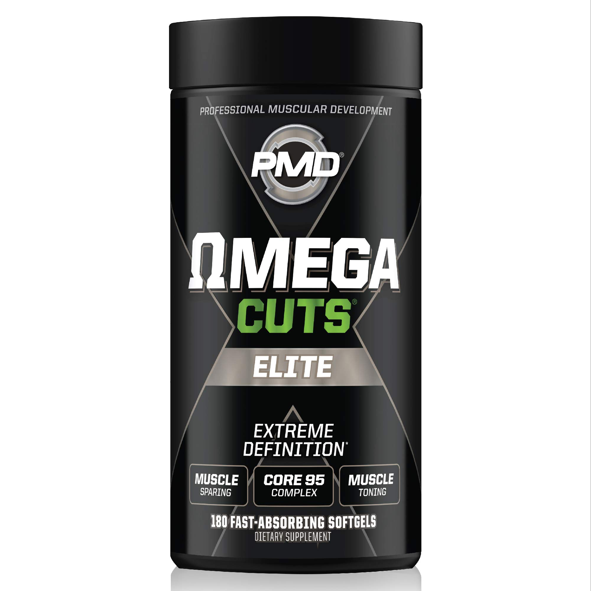 PMD Sports Omega Cuts Elite Zero Stimulant, Maximum Strength MCT, CLA and Omega Fatty Acid Complex Formula for Muscle Definition and Maintenance - 180 Softgels by PMD