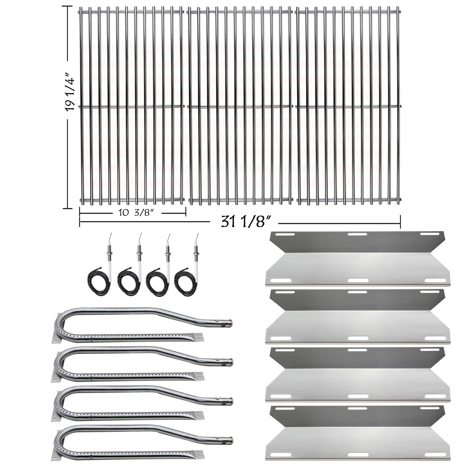 Hisencn Repair kit Replacement for Jenn Air 720-0337, 7200337, 720 0337 Gas Grill Model, 4pack Stainless Steel Burners Pipe Tube, Heat Plates Sheild Tent, Set of 3 Grill Cooking Grid Grates by Hisencn