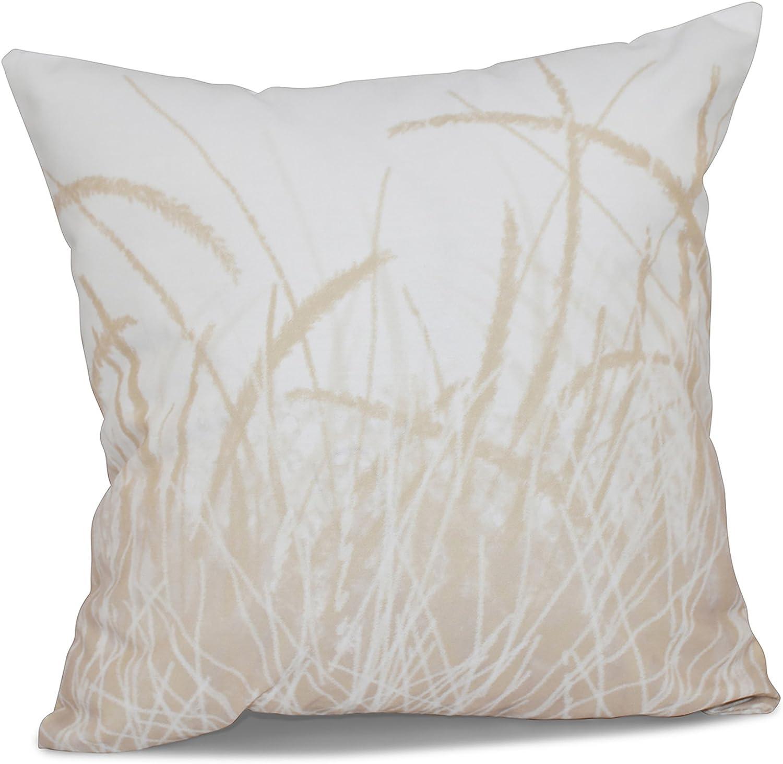 E by design PFN482WH1TA9-18 18 x 18 inch, Sea Grass 1, Floral Print Pillow, 18x18, Brown