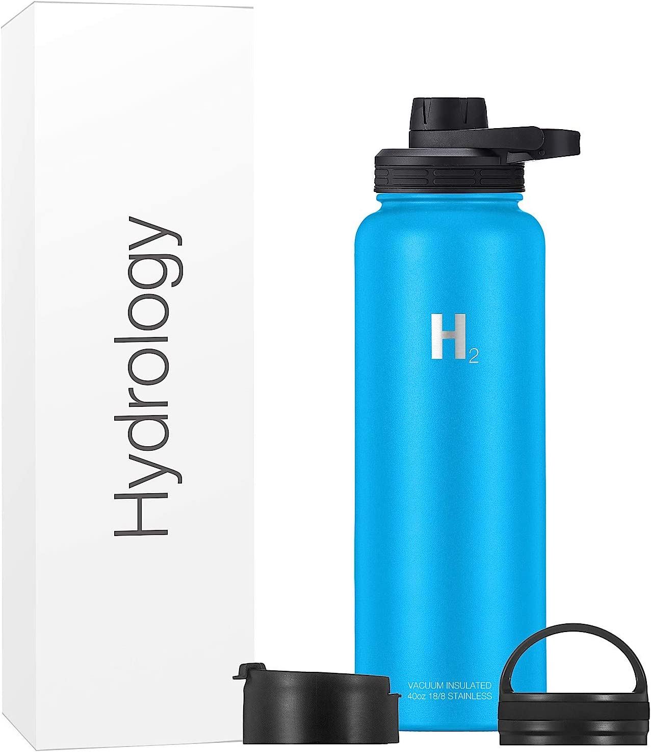 Hydrology Water Bottle Adventure Edition - 22 oz, 32 oz, 40 oz, or 64 oz with 3 LIDS Double Wall Vacuum Insulated Stainless Steel Wide Mouth Hydro Sports Hot & Cold Flask Leak Proof Sweat Free Thermos