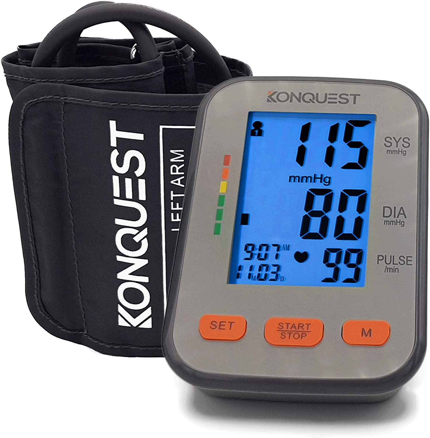 KONQUEST KBP-2704A Automatic Upper Arm Blood Pressure Monitor – Accurate, FDA Approved – Adjustable Cuff, Large Backlit Display – Irregular Heartbeat Hypertension Detector – Tensiometro Digital
