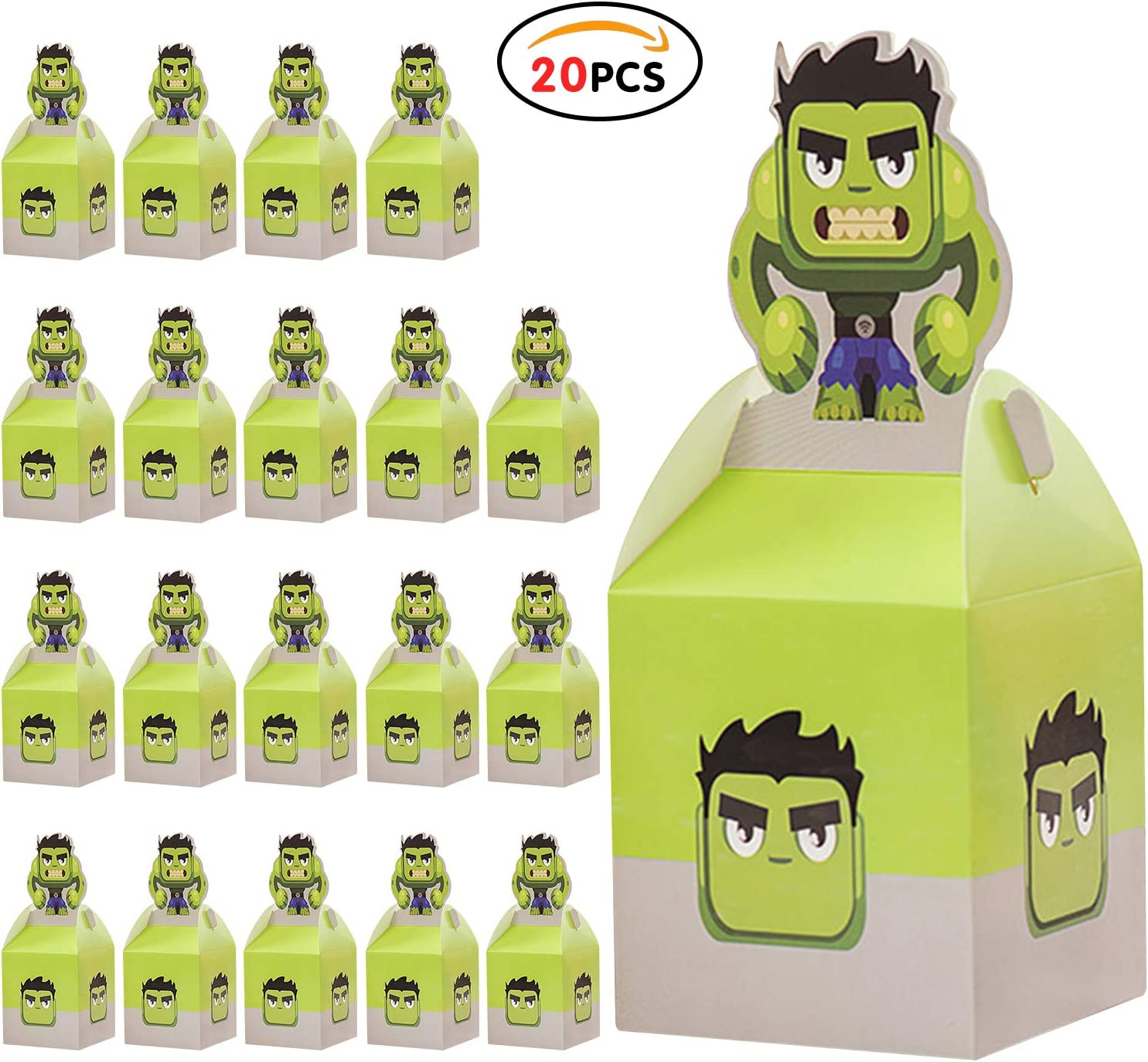 Reusable Kids Party Bags for Birthday Party Favors Give Aways Supplies Gift Lunch Box Treat Bags Goodie for Children Toddlers Wedding Festival H9.8*W3.4* L3.4 Qemsele Kids Party Boxes 20pcs H25cm*W8.5cm*L8.5cm , Hulk