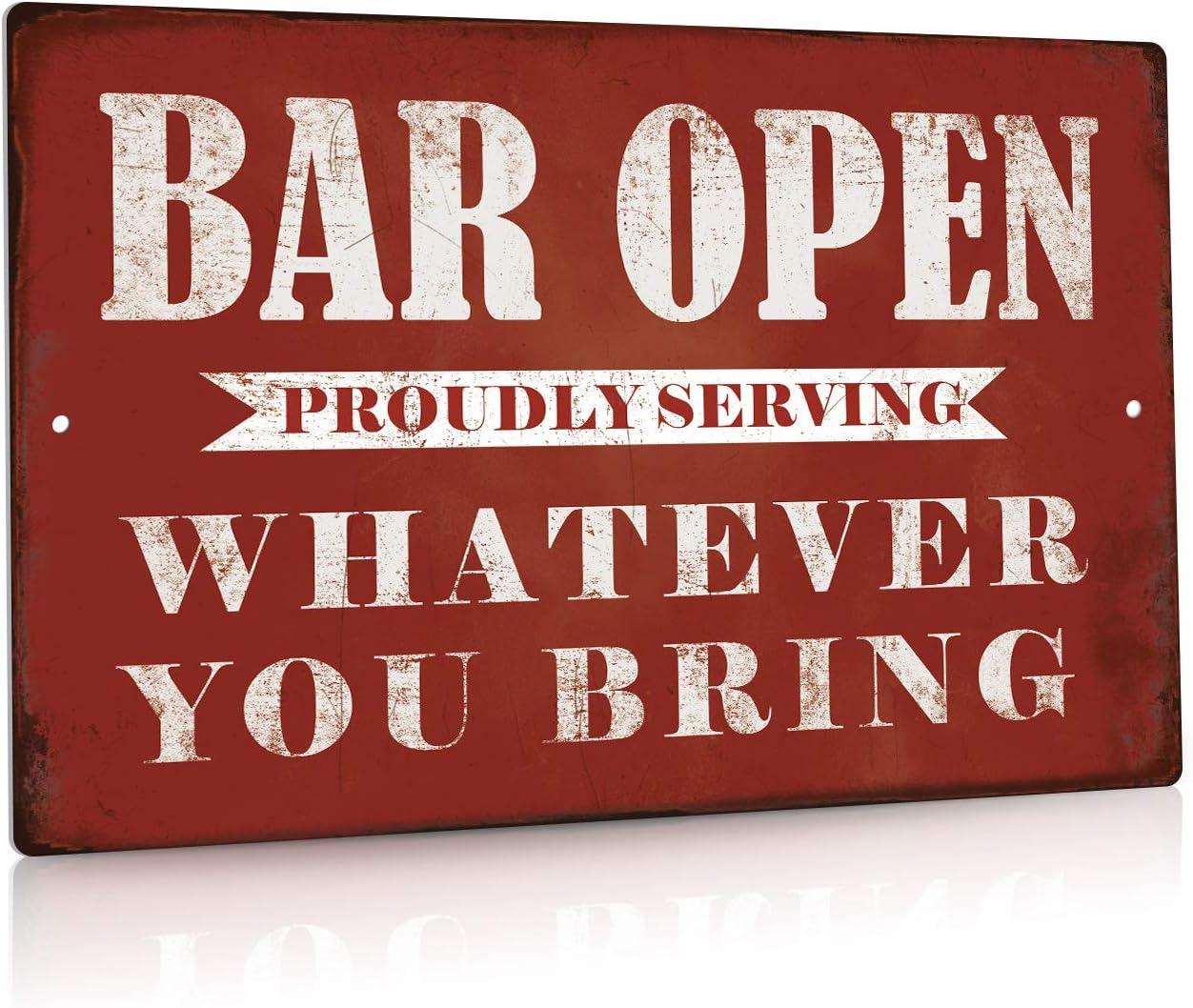 Putuo Decor Bar Open Metal Tin Sign Bar Man Cave Funny Wall Decor, 8