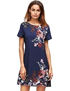 89c13e067fe SheIn Women s Crew Neck Short Sleeve Hollow Shift Dress at Amazon ...