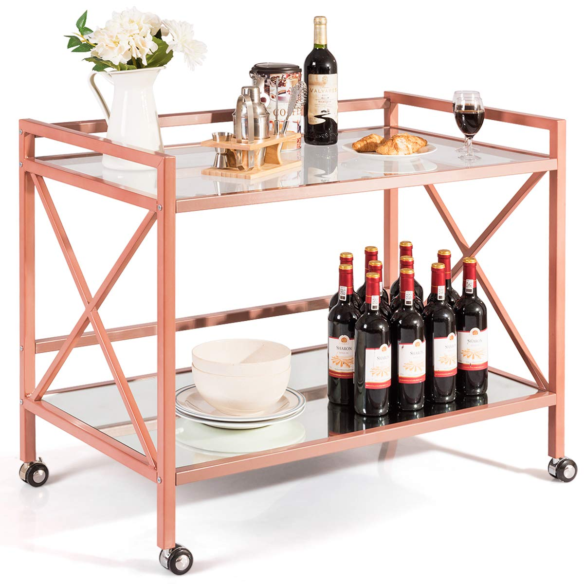 Giantex Bar and Serving Cart 2-Tier, Industrial Modern Wine Tea Cart, Tempered Glass Top Mirrored Bottom, Universal Caster Wheels, Storage Carts for Kitchen Dining Room Commercial Use (Rose Gold) by Giantex
