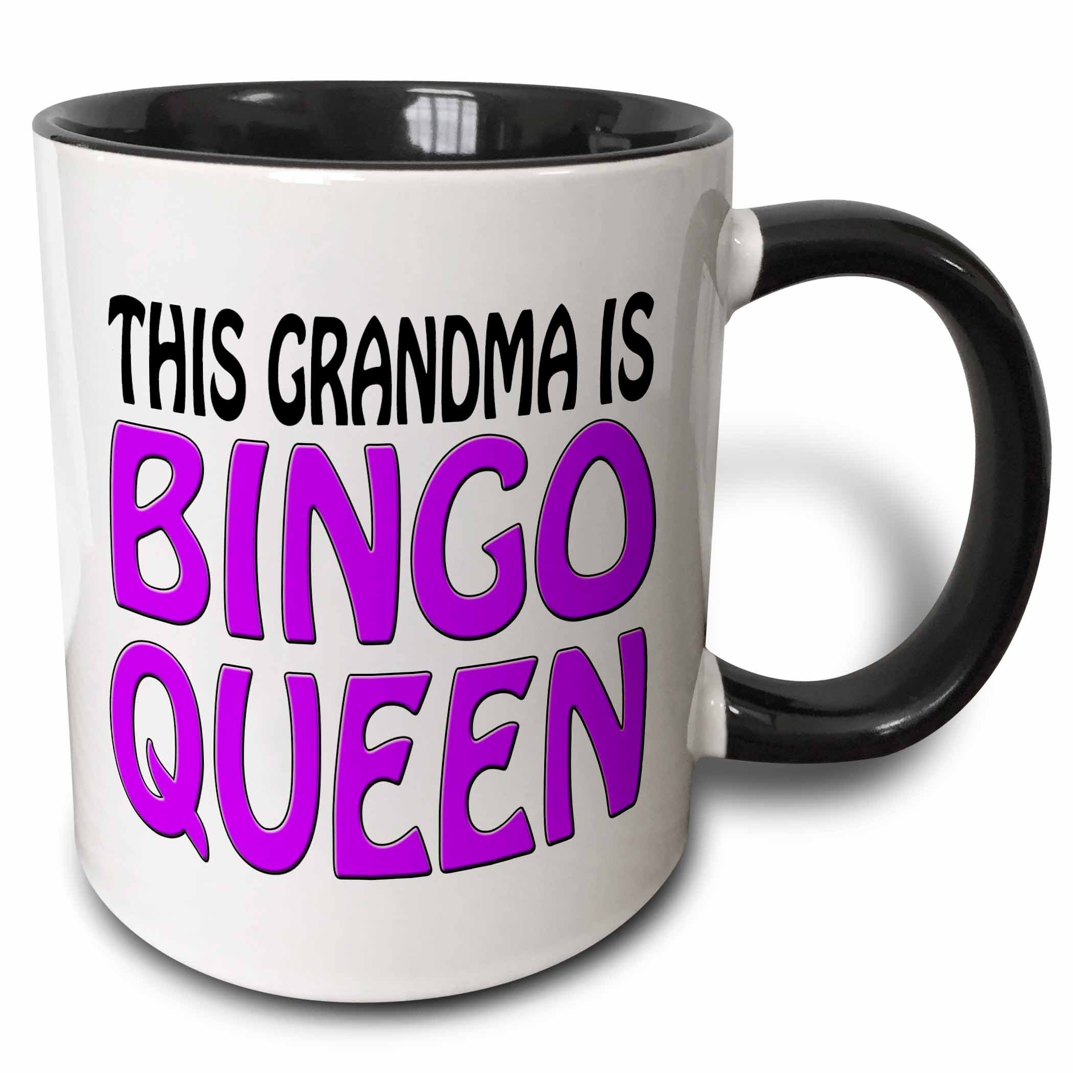 3dRose (mug_149773_4) This grandma is bingo queen, Purple, - Two Tone Black Mug, 11oz