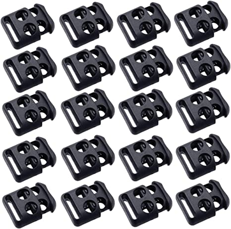 30Pcs Double-Hole Spring Loaded Round Stop Sliding Cord Fastener Metal Toggle