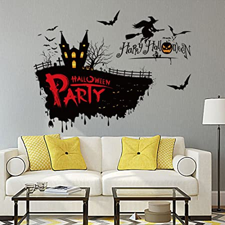 Ml victor 20x28 happy halloween pumpkin witch bats pvc wall decals window stickers mural
