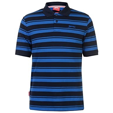 Slazenger Hombre Pique Yarn Dye Camisa Polo Manga Corta Azul ...