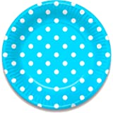 Blue Polka Dot Party Decorations - Choose Below (Paper Plates (10 Pack))