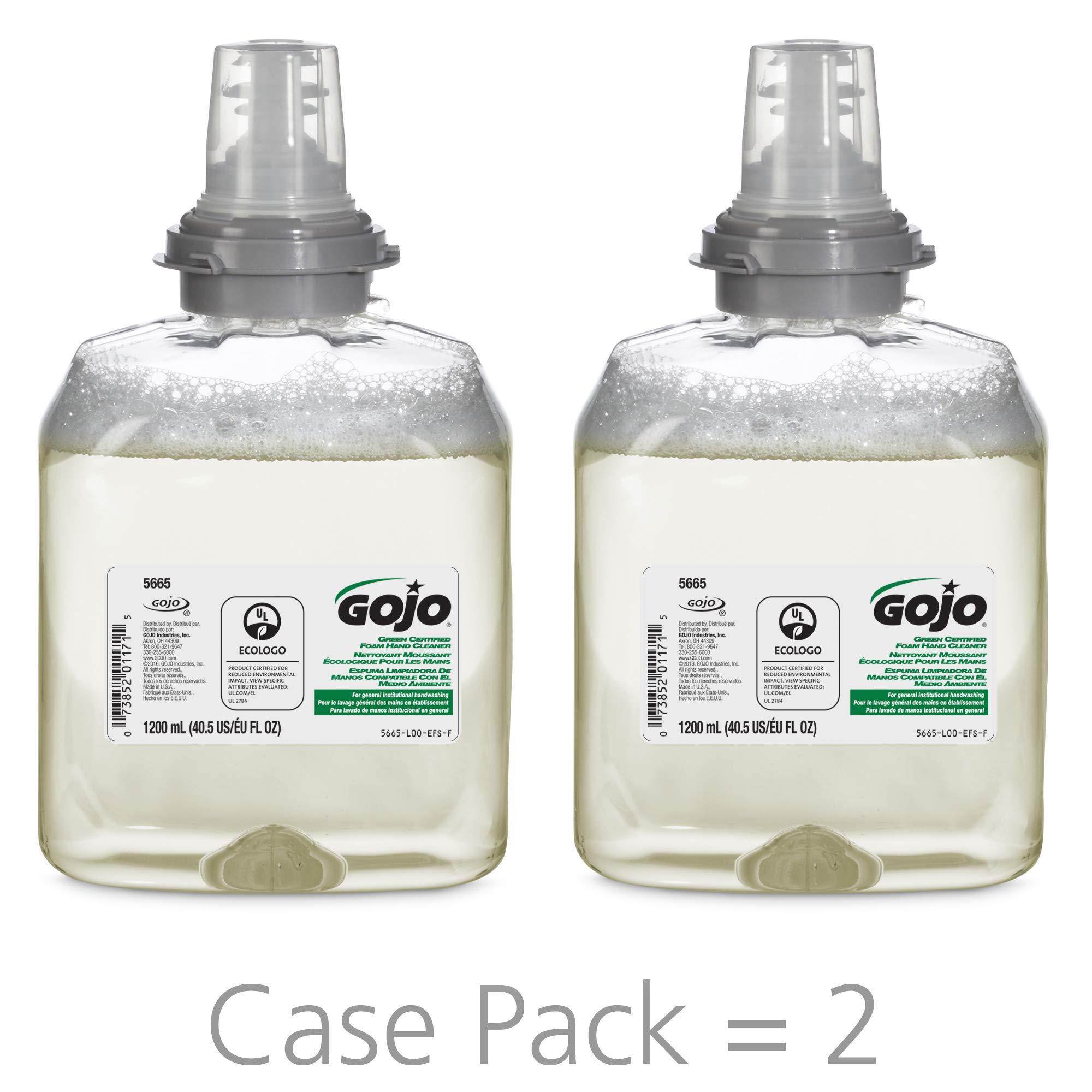 GOJO TFX Green Certified Foam Hand Cleaner, Fragrance-Free, EcoLogo Certified, 1200 mL Soap Refill for GOJO TFX Touch-Free Dispenser (Pack of 2) – 5665-02