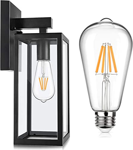 Outdoor Wall Lantern Waterproof Clear Glass Black Wall Light Fixture Bundle 6W ST64 LED Edison Bulb Dimmable Warm White 2700K 800LM