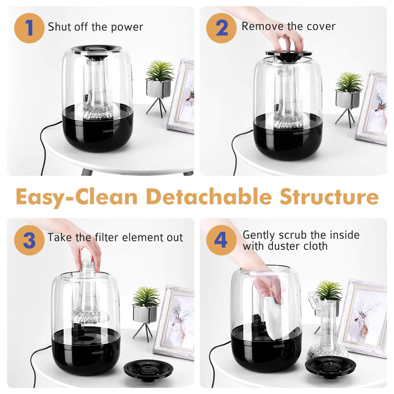 Large Vaporizer Humidifying Unit with Whisper-Quiet /& Auto Shut-Off Protection 3L Ultrasonic Cool Mist Humidifier for Baby Bedroom VicTsing Upgraded Humidifiers with Filter Impurities Stone