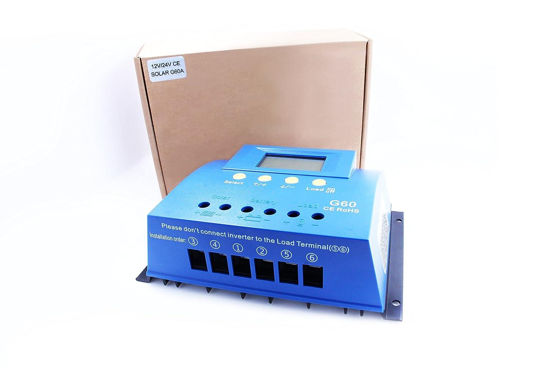 y-solar 60 A 80 A PWM controlador de carga solar Batería regulador retroiluminación LCD USB (G60): Amazon.es: Jardín