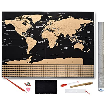 Amazon scratch off world map poster with country flags and scratch off world map poster with country flags and us states track your adventures gumiabroncs Image collections