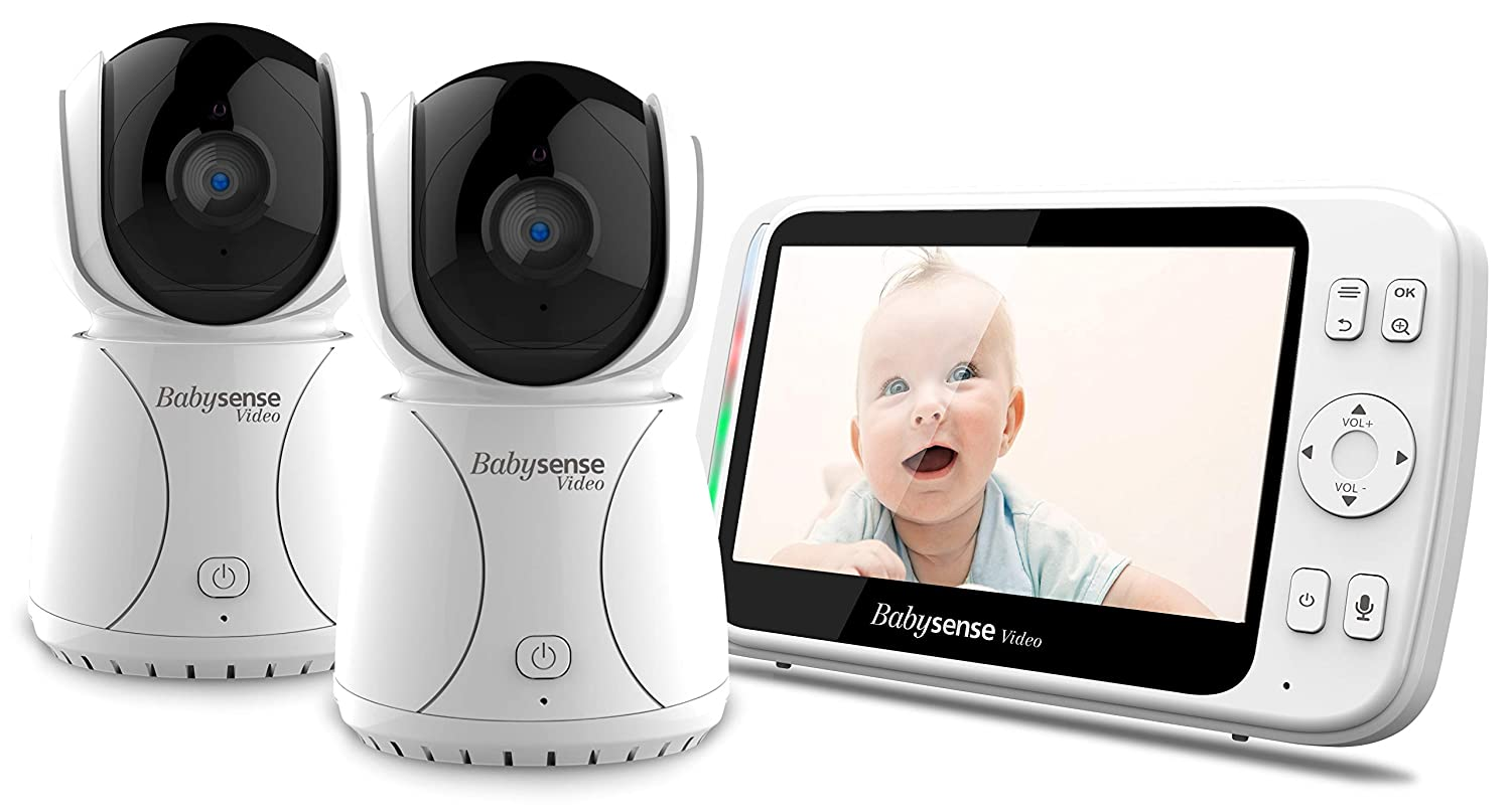 Baby Monitor with 2 Cameras by Babysense Large 5 Screen Video Baby Monitor with Camera and Audio, Remote Pan Tilt, Two-Way Talk Back, Long Range, VOX, Lullabies, Night Vision Room Temperature