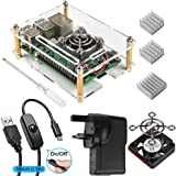 Smraza Transparent Acrylic Case for Raspberry Pi 3 Model B+ with 2.5A Power Supply, External Cooling Fan and USB Cable with ON/OFF Switch compatible with Raspberry Pi 3b 2 Model B +