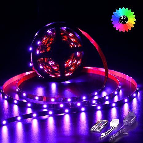 Tiras Led 2 m 60 Leds, TopKeep Tira LED Kit Completo de Mando a Distancia