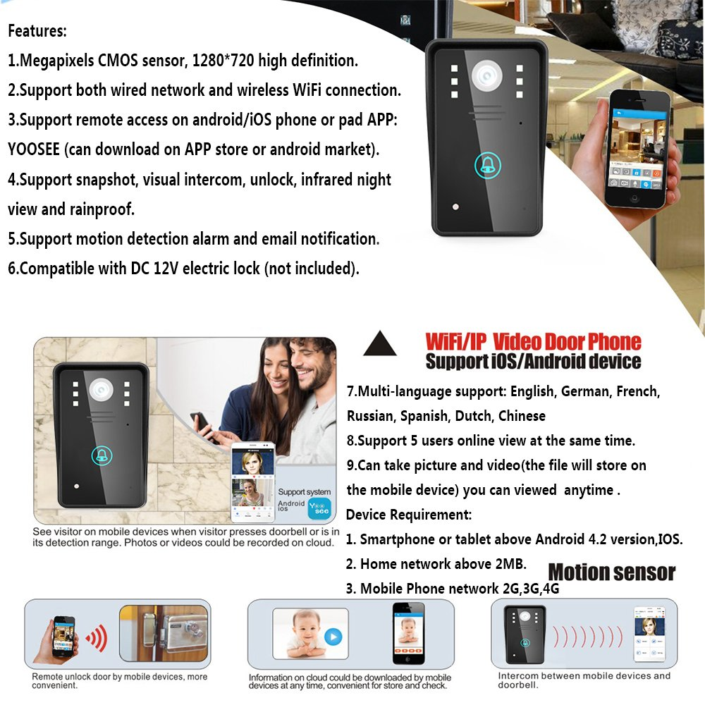 Ennio Hd 720p Wireless Wifi Video Door Phone Doorbell Intercom Network Free Download Wiring Diagrams Pictures System Night Vision Waterproof Support Both Wired And Connection