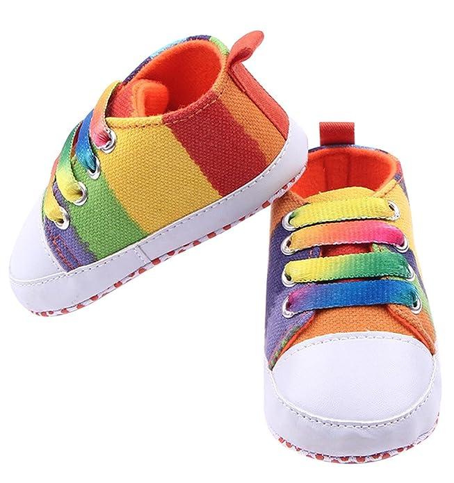 La vogue Primeros Zapatos de Lona Para Bebé Recién Nacido Unisexs Camuflaje Colores Arco Iris #2,Longitud Suela 11cm