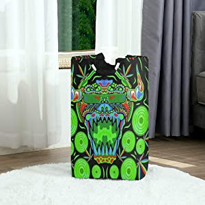 DAOPUDA Laundry Bag Trippy Marijuana Monster DJ Psychedelic Party Flyer Large Laundry Hamper Bags for Heavy-Duty Use with Strap,Standing Clothes Basket Collapsible for Dorm Travel Bathroom