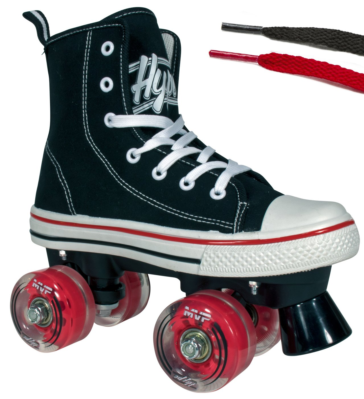 Hype Roller Skates for Girls and Boys MVP Kid's Unisex Quad Roller Skates with High Top Shoe Style for Indoor/Outdoor (Black & Red, 3)
