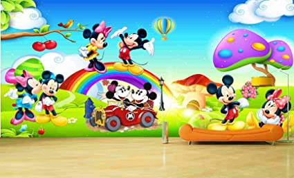 Kayra Decor Mickey Mouse And Mini World 3d Wallpaper Print Decal