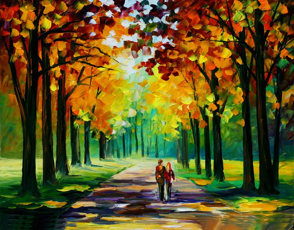 [Wooden Framed] Paint by Numbers Kits for Adults Children Seniors Junior Beginner Acrylics Diy oil Painting Kits - Romantic Love Autumn 16*20 Inch digital oil painting