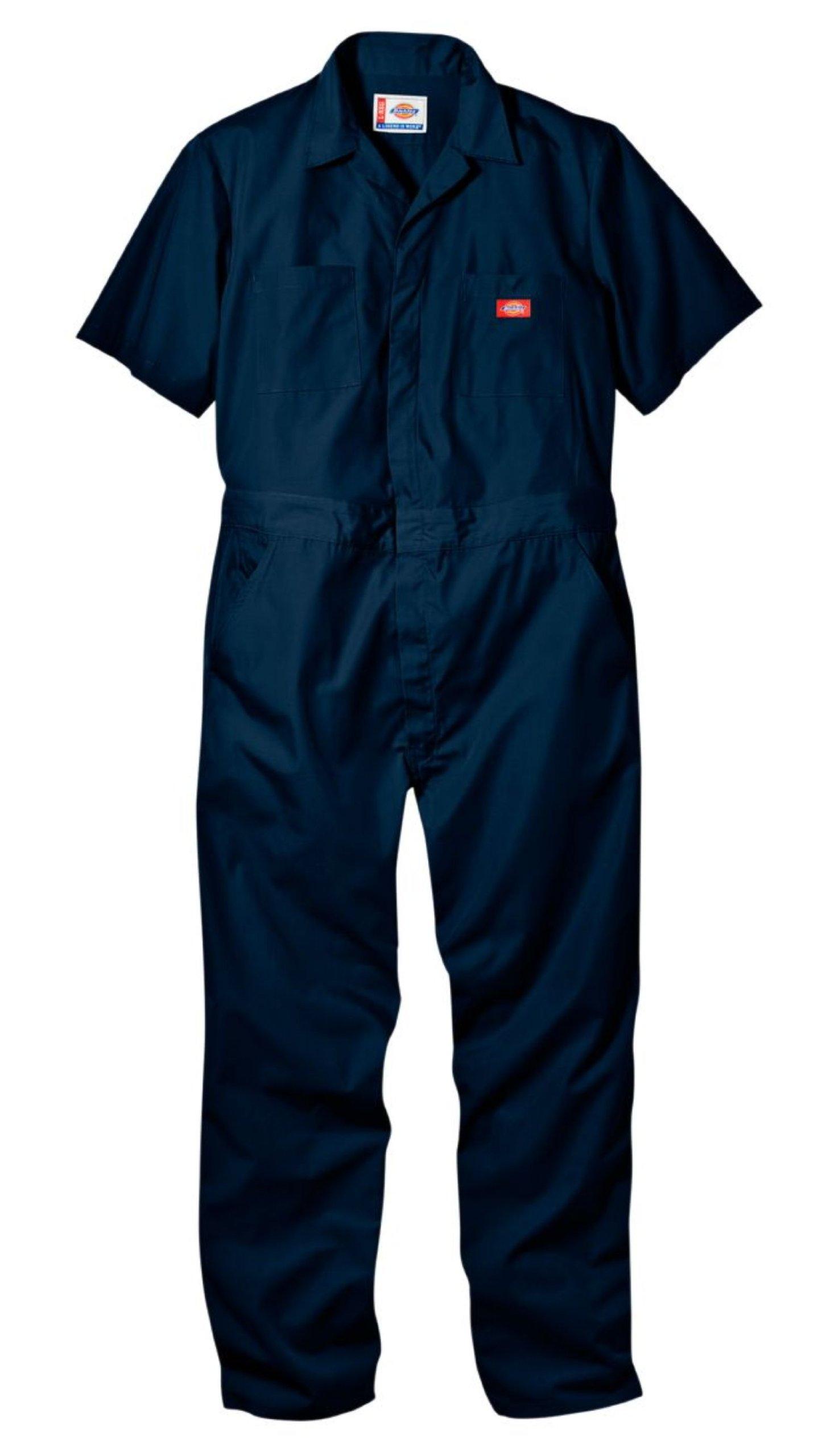 Dickies Men's Short Sleeve Coverall, Dark Navy, Medium Tall