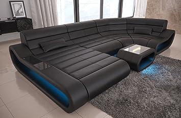 Sofa Dreams Leder Wohnlandschaft Concept U Form Schwarz Amazon De