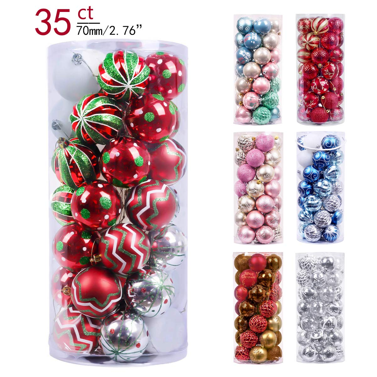 Valery Madelyn 35ct 70mm Classic Collection Splendor Red Green White Shatterproof Christmas Ball Ornaments Decoration with String Pre-Tied,Themed with Tree Skirt(Not Included)