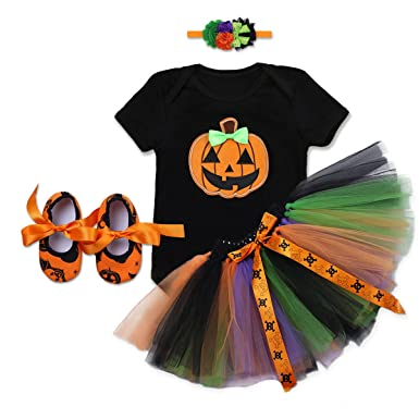 Kinder Kürbis Kostüm Halloween Ballerina Tutu Kleid Halloweenkostüm Mädchen