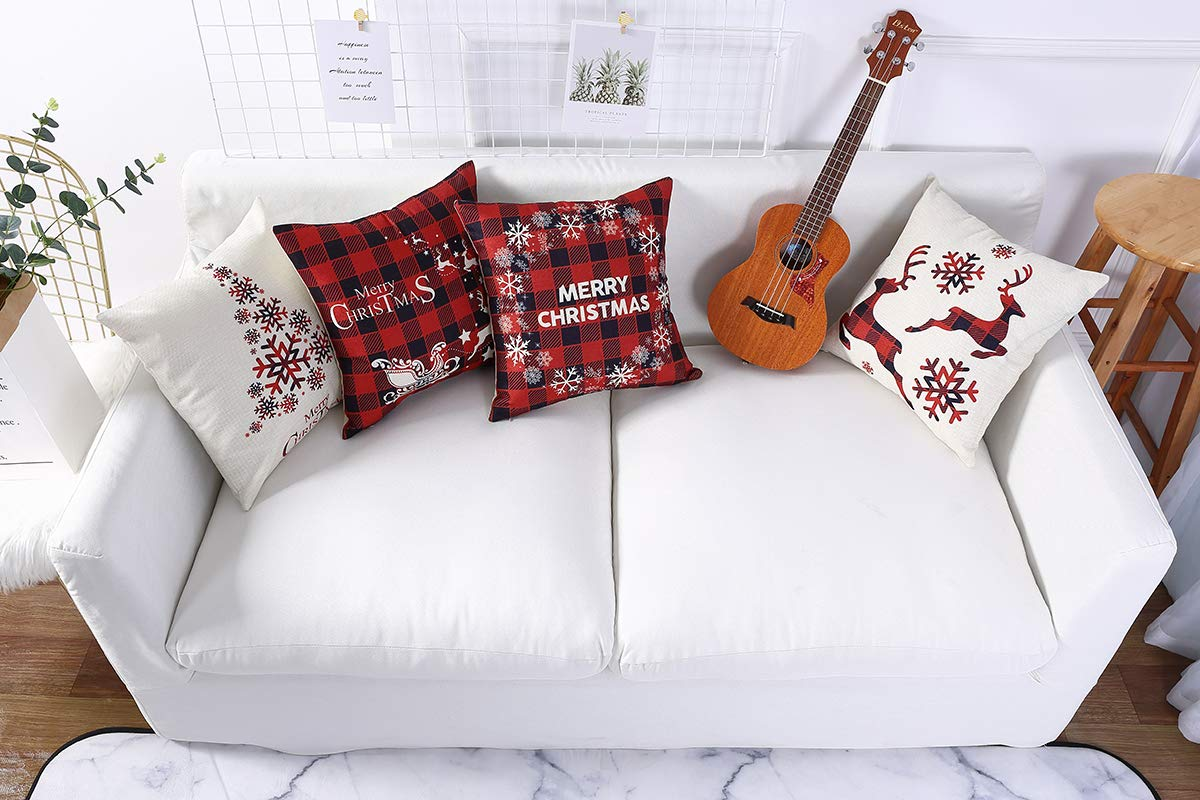 Mimacoo 12x20 Christmas Throw Pillow Covers Decorative Outdoor Farmhouse Merry Christmas Xmas Christmas Tree Pillow Shams Cases Slipcovers Set of 4 for Couch Sofa