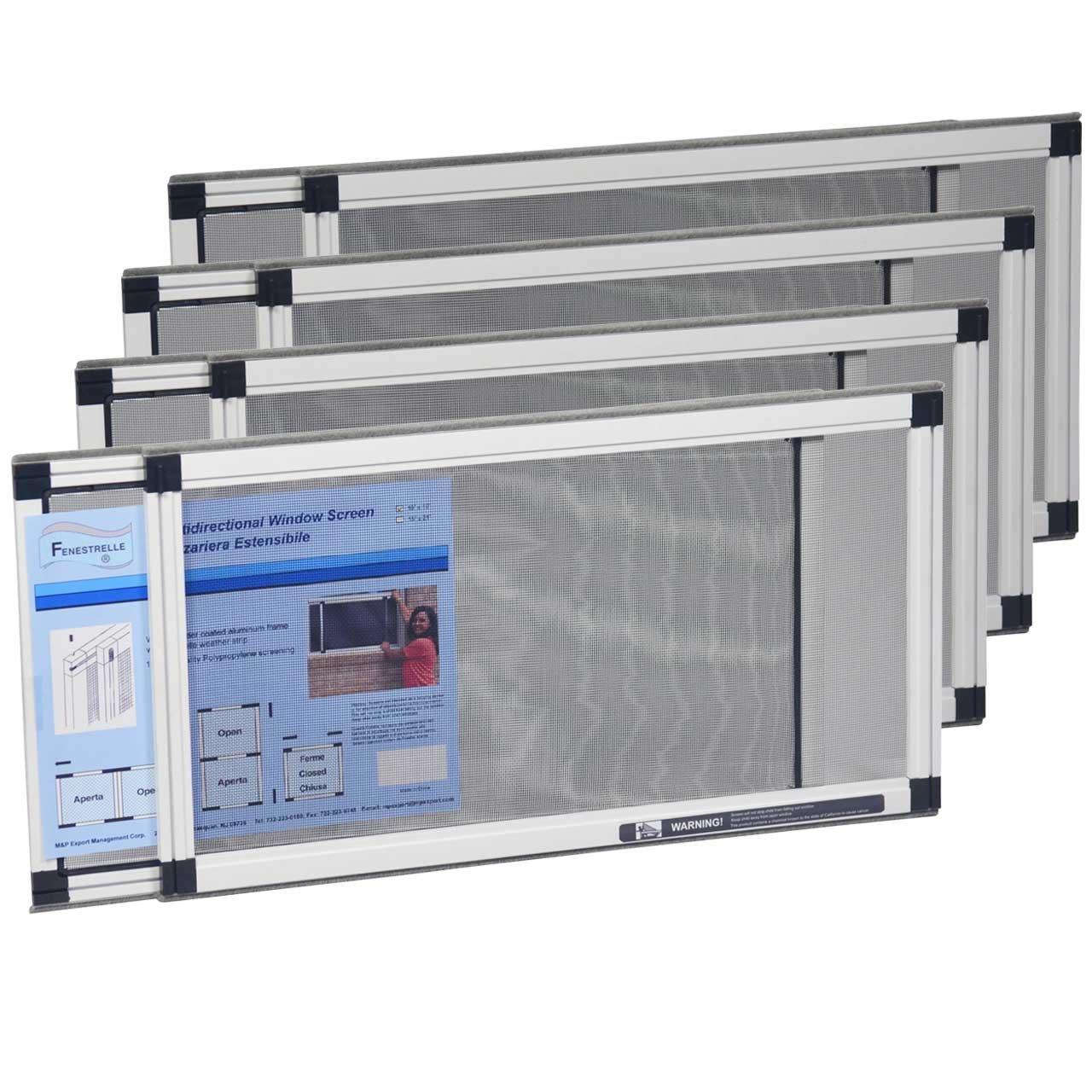 Fenestrelle Adjustable Window Screen, 2 Way Adjustable, Horizontal, (10''x19-36''w) or Convert to Vertical (19''x10-18''w) - 4 Pack