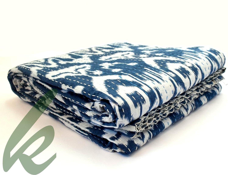 khushvin Ikat Throw Kantha Quilt Ralli Gudari Kantha Quilt Blanket Bedding Bedspread Indian Kantha Quilts Cotton Floral Print Coverlets Ikat reversible Pattern Stitch Throws Queen Size