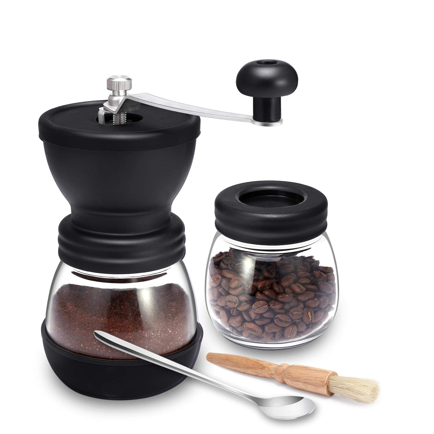 Manual Coffee Mill Grinder with Ceramic Burrs, Two Clear Glass Jars, Stainless Steel Handle and Silicon Cover