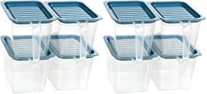 Food storage containers bins with Handle Lids, 1 Qt 8 pieces stackable Set of 8 BPA Free. Pantry bins for kitchen refrigerators. Keep meal cereal flour sugar