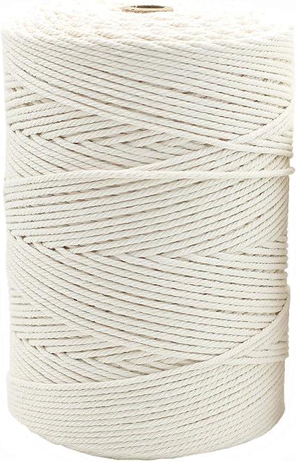 Bulk Macrame Rope Twisted Natural Cotton Macrame Cord 2mm x 1kg DIY Macrame approx 480m 3 Ply 3 Strand
