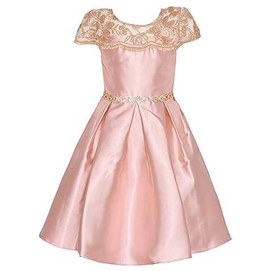 4fce36ef08 Rare Editions Little Girls Blush Lace Panel Stone Trim Hi-Low Dress 6 Pink