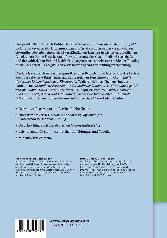 Public Health: Sozial- Und Präventivmedizin Kompakt De Gruyter Studium:  Amazon.de: Matthias Egger: Bücher